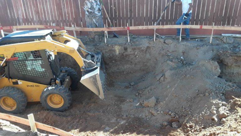 excavating ground new pool construction